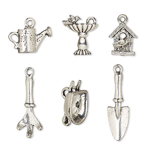 charm set, antiqued pewter (tin-based alloy), 17x9mm-32x23.5mm garden theme. sold per 6-piece set.