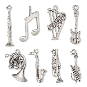 charm set, antiqued pewter (tin-based alloy), 22.5x6mm-29.5x23.5mm music theme. sold per 8-piece set.