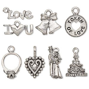 charm set, antiqued pewter (tin-based alloy), 9x6mm-19.5x15mm wedding theme. sold per 8-piece set.