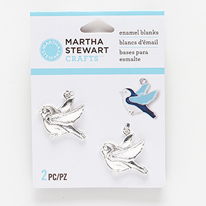 charm, silver-finished pewter (zinc-based alloy), 27x21mm bird enamel blank. sold per pkg of 2.
