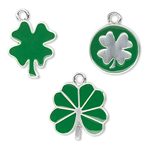 charm, silver-finished pewter (zinc-based alloy) and enamel, green, (2) 15mm coin with single-sided 4-leaf clover, (2) 15x15mm 4-leaf clover and (2) 20x15mm 4-leaf clover with 1.5mm loops. sold per pkg of 6.
