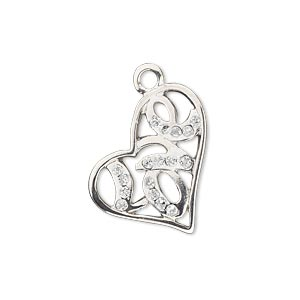 charm, silver-finished pewter (zinc-based alloy), white glitter, 22x21mm single-sided open heart with love. sold individually.