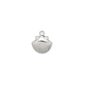 charm, silver-plated brass, 10x9mm shell. sold per pkg of 100.