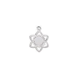 charm, silver-plated brass, 11x11mm flower with 4mm round setting. sold per pkg of 50.