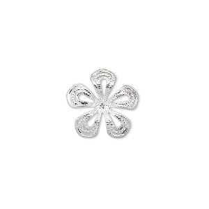 charm, silver-plated brass, 14.5x14.5mm flower. sold per pkg of 50.