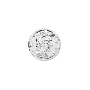 charm, silver-plated brass, 16mm roman coin replica. sold per pkg of 50.