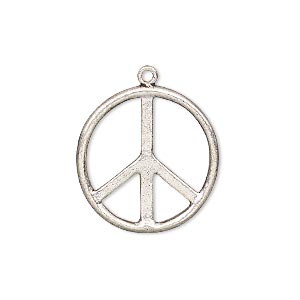 charm, silver-plated copper, 21mm peace symbol. sold per pkg of 2.
