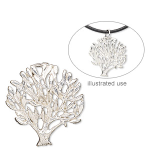 charm, silver-plated copper, 26x24mm single-sided tree of life. sold per pkg of 2.