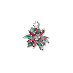 charm, silver-plated pewter (zinc-based alloy) and enamel, green and red, 16x15mm single-sided poinsettia with glitter center. sold individually.
