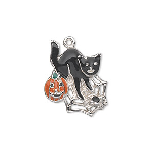 charm, silver-plated pewter (zinc-based alloy) and enamel, orange / black / green, 23x18mm single-sided cat with pumpkin on spider web. sold individually.
