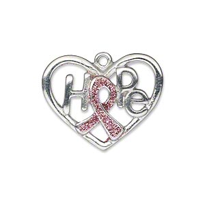 charm, silver-plated pewter (zinc-based alloy) and enamel, pink glitter, 26x20mm open heart single-sided awareness ribbon with hope. sold individually.