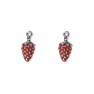 charm, silver-plated pewter (zinc-based alloy) and enamel, red and green, 10x7mm double-sided strawberry with leaves. sold per pkg of 2.