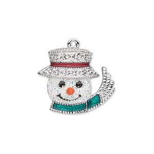charm, silver-plated pewter (zinc-based alloy) and enamel, white / green / red, 22x19mm single-sided snowman head with glittery face, top hat, scarf and carrot nose. sold individually.