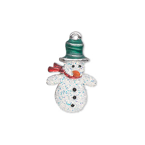 charm, silver-plated pewter (zinc-based alloy) and enamel, white / red / green / orange, 22x15mm single-sided snowman with glitter and hat, scarf and carrot nose. sold individually.