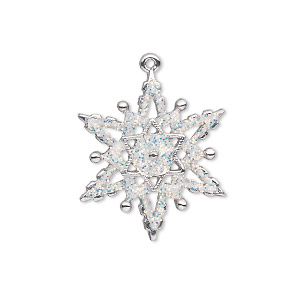 charm, silver-plated pewter (zinc-based alloy) and enamel, white, 23x22mm single-sided snowflake with glitter. sold individually.