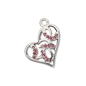 charm, silver-plated pewter (zinc-based alloy), pink glitter, 22x21mm single-sided open heart with love. sold individually.