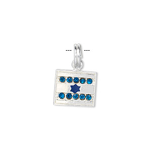 charm, sterling silver / crystal / enamel, blue, 13x12mm israeli flag. sold individually.