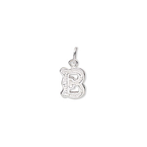 charm, sterling silver, 10x8mm fancy block alphabet letter b. sold individually.