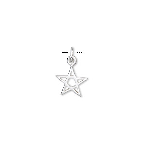 charm, sterling silver, 10x9mm star. sold per pkg of 6.