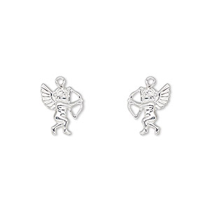 charm, sterling silver, 11x9mm single-sided left- and right-facing cupid. sold per pkg of 2.