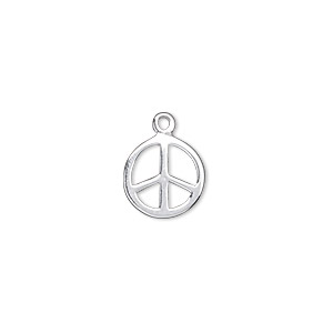 charm, sterling silver, 12mm double-sided flat round peace sign. sold individually.