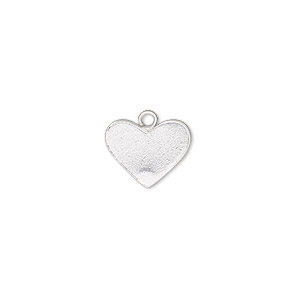 charm, sterling silver, 13x10mm heart. sold per pkg of 2.