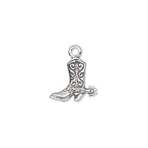 charm, sterling silver, 14x13mm cowboy boot. sold individually.
