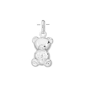 charm, sterling silver, 15x10mm teddy bear. sold individually.