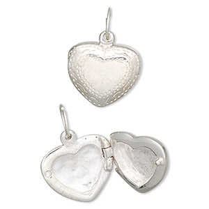 charm, sterling silver, 16x15x6mm heart locket. sold individually.