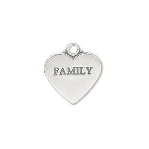 charm, sterling silver, 17x15mm double-sided affirmation heart family. sold individually.