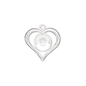 charm, sterling silver, 18x17mm single-sided open heart with ss39 rivoli setting. sold individually.