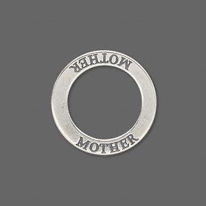 charm, sterling silver, 22mm double-sided affirmation circle mother. sold individually.