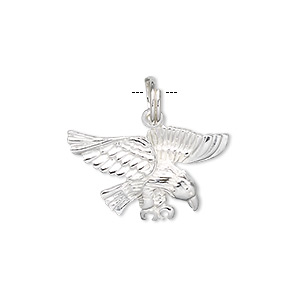 charm, sterling silver, 23x13mm eagle. sold individually.