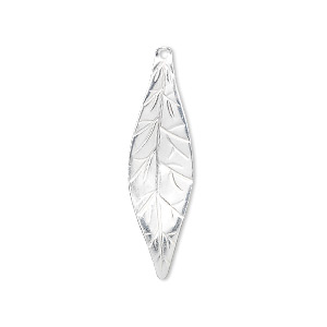 charm, sterling silver, 29x9mm single-sided marquise leaf. sold individually.