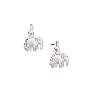 charm, sterling silver, 9x7mm elephant. sold per pkg of 2.