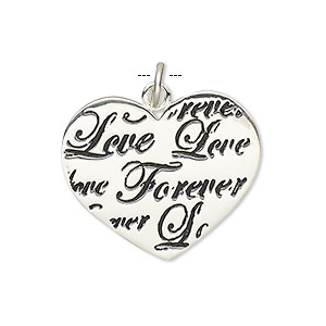 charm, sterling silver and enamel, black, 27x24mm heart with love forever. sold individually.