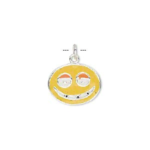 charm, sterling silver and enamel, multicolored, 16x13mm single-sided flat oval with grinning face. sold individually.