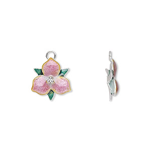 charm, sterling silver and enamel, pink and green, 12x12mm trillium flower. sold individually.