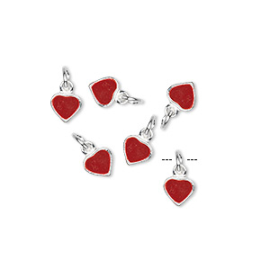 charm, sterling silver and enamel, red, 5x5mm heart. sold per pkg of 6.