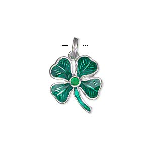 charm, sterling silver and enamel with glass rhinestone, green, 17x15mm single-sided 4-leaf clover. sold individually.