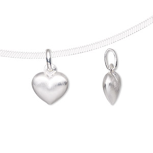 charm, sterling silver-filled, 11x10mm double-sided brushed heart with oval jumpring. sold  individually.