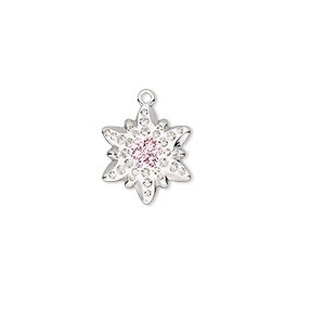 charm, swarovski crystals / rhodium-plated brass / epoxy, crystal clear / vintage rose / white, 14x12mm pave edelweiss pendant (67442). sold per pkg of 12.