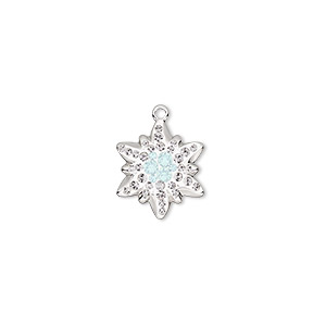 charm, swarovski crystals / rhodium-plated brass / epoxy, crystal clear / white opal / white, 14x12mm pave edelweiss pendant (67442). sold per pkg of 12.