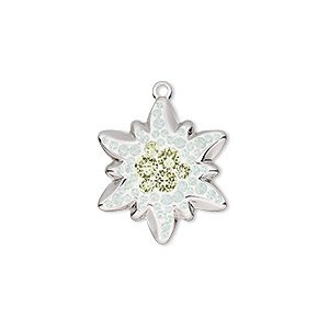 charm, swarovski crystals / rhodium-plated brass / epoxy, crystal passions, white opal / jonquil / white, 20x17mm pave edelweiss pendant (67442). sold individually.