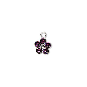 charm, swarovski crystals and sterling silver, amethyst, 8x8mm flower. sold per pkg of 2.