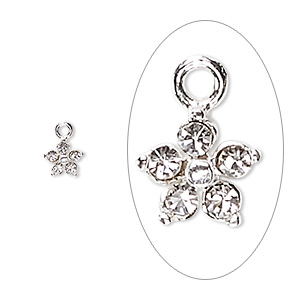 charm, swarovski crystals and sterling silver, crystal clear, 6x6mm flower. sold per pkg of 2.