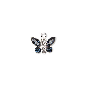 charm, swarovski crystals and sterling silver, crystal clear and montana, 12x8mm butterfly. sold individually.