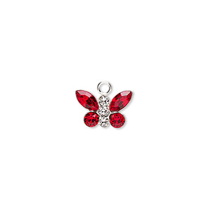 charm, swarovski crystals and sterling silver, crystal clear and siam, 12x8mm butterfly. sold individually.
