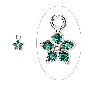 charm, swarovski crystals and sterling silver, emerald green, 6x6mm single-sided flower. sold per pkg of 2.