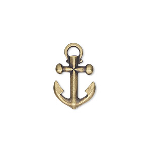 charm, tierracast, antique brass-plated pewter (tin-based alloy), 16x12mm 3d anchor. sold individually.